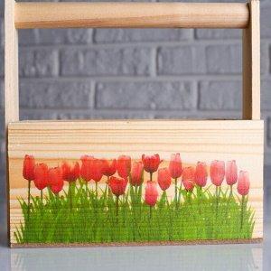 """Набор кашпо деревянных подарочных Капоне """"Розовые тюльпаны"""", 3 в 1, ручка"""