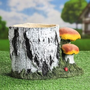 """Кашпо """"Пень берёзовый с грибами"""". 6 л"""