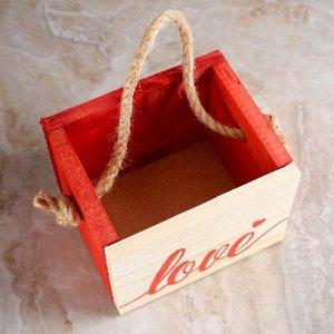 """Кашпо деревянное 12.5?10.5?9.5 см Элен """"Крепкая любовь"""", ручка верёвка"""