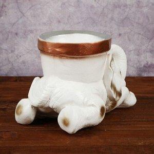 """Кашпо """"Слон с горшком'', белый цвет, 0,6 л"""