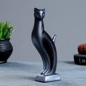 """Фигура """"Кошка Рысь"""" чёрная с серебром 7?5?21см 082"""