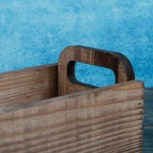 """Кашпо деревянное 24.5?11?9.5 см Ладья """"Модерн дизайн"""", ручки вырезы боковые, коричневый"""