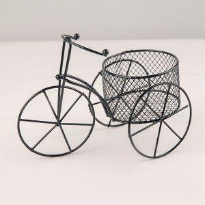 Подставка для цветов Доляна «Велосипед». d=8 см. 18?10?13 см. цвет чёрный