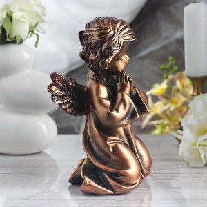 """Статуэтка """"Ангел молящийся в платье"""" бронзовый цвет, 25 см"""