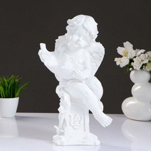 "Фигура ""Ангелочек с чашей"" белый. 13х15х43см"