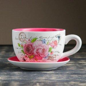 """Горшок цветочный в форме чашки """"Розы"""" 15*19*10 см"""