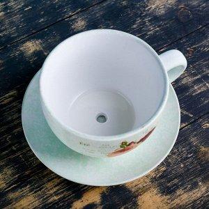 """Кашпо-чашка """"Чайная пара"""" белое"""