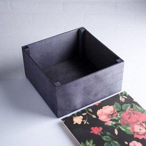 """Коробка подарочная 20?20?10 см деревянная """"Розы в ночи"""", с накладной крышкой, с печатью"""