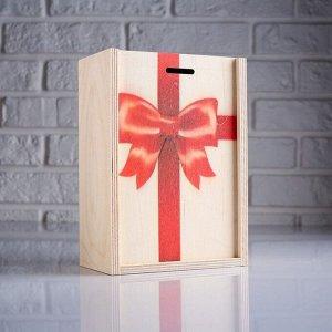 """Коробка подарочная 14?8?20 см деревянная пенал """"Подарок"""", с печатью"""