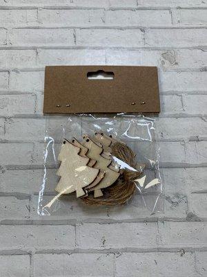 Заготовки деревянные декор Елочки 5 см (8шт в пачке)