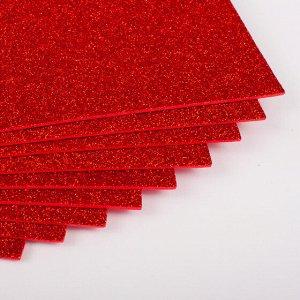 Фоамиран с глиттером а4 красный 1 лист