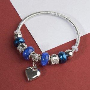 """Браслет ассорти """"Марджери"""" сердце, цвет сине-морской в серебре, d=6,5 см"""