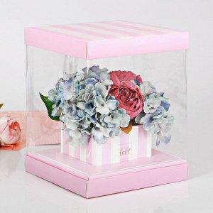 Коробка для цветов с вазой и PVC-окнами With Love, складная, 23 ? 30 ? 23 см