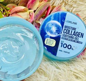 Увлажняющий смягчающий гель для лица и тела LEBELAGE Moisture Collagen 100% , 300мл