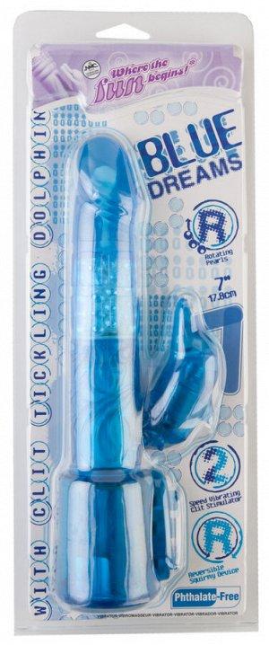 Вибратор NMC Blue Dream с клиторальным стимулятором в форме «дельфина», многофункциональный, с ротац