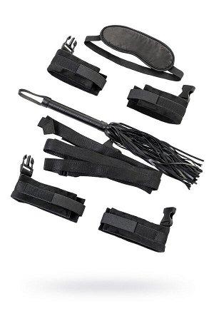Набор бондажный TOYFA Theatre: ремни + плетка + наручники + оковы + маска, текстиль, чёрный