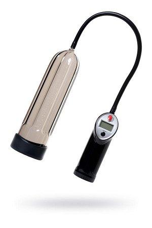 Помпа для пениса Sexus Men Expert, полуавтоматическая, с манометром, ABS пластик, чёрная, 27 см, ? 7