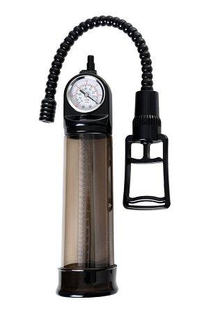 Помпа для пениса Sexus Men Training, вакуумная, механическая, с манометром, ABS пластик, чёрный, 29