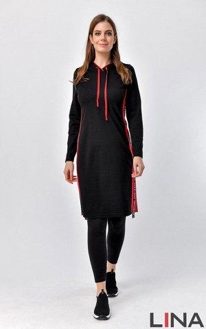 Платье Длина: 97 см Состав: вискоза 68%, нейлон 27%, спандекс 5% Цвет: черный/красный, черый/всилек, ,