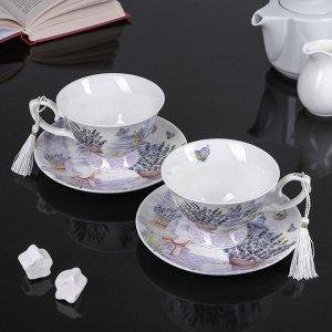 Набор чайный «Лавандовое поле», 4 предмета: 2 чашки 200 мл, 2 блюдца