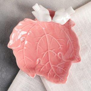 Блюдо «Голубки на листочке», 16?6,5 см, цвет розовый