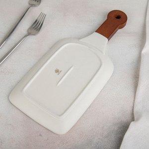 Блюдо для подачи «Марбл», 24?15,5 см, цвет белый