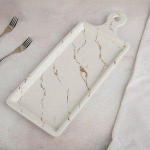 Блюдо для подачи «Марбл», 40,5?16,5?2 см, цвет белый