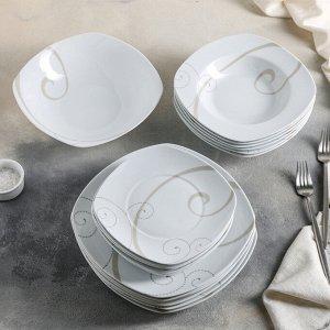 Сервиз столовый Caress Modern, 19 предметов: тарелка десертная 6 шт, тарелка обеденная 6 шт, тарелка глубокая для супа 6 шт, салатник 1 шт