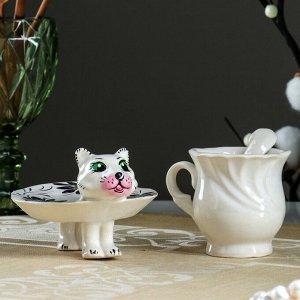 Чайная пара «Кошечка с ложечкой», 3 предмета: чашка, ложка, блюдце