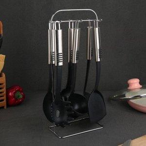 Набор кухонных принадлежностей «Фидель», 6 предметов, на подставке 4132549