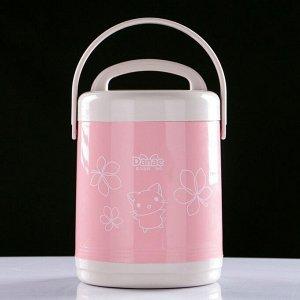 """Термос для еды """"Китти"""", 1.7 л, сохраняет тепло 3-5 часов, 2 контейнера, микс, 15х23 см"""
