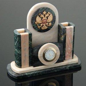 Набор письменный «Герб»: часы, визитница, подставки для ручек