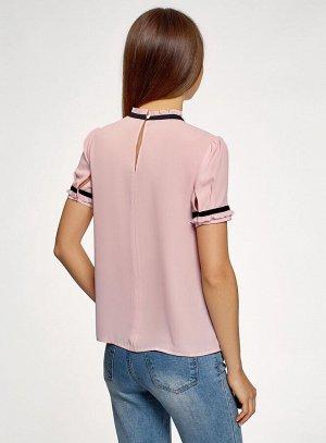 Блузка из струящейся ткани с контрастными отделками Oodji