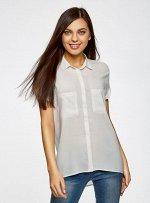 Блузка из вискозы с нагрудными карманами Oodji