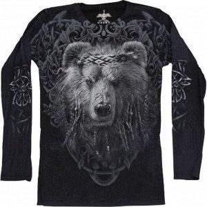 Мужская футболка с длинным рукавом Медведь мудрый KPT 223
