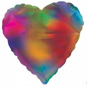"""Шар Ф 18"""" Сердце Металлик разноцветное 45 см /К"""