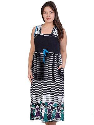 Сарафан - темно-синий, бирюзовый цвет