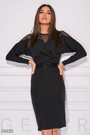 Платье с прозрачной кокеткой