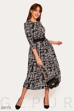 Черно-белое платье-миди