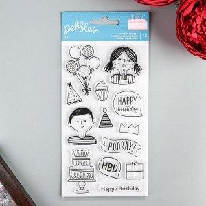 Набор прозрачных штампов Pebbles - Happy Cake Day - 13 шт