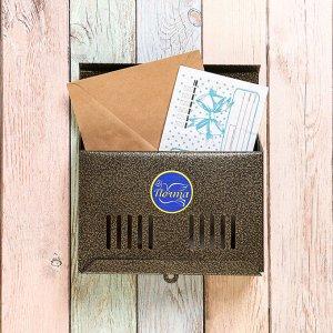 Ящик почтовый без замка (с петлёй), горизонтальный «Мини», бронзовый