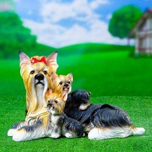 "Садовая фигура ""Йоркширский терьер со щенками"" 32х15х20см"