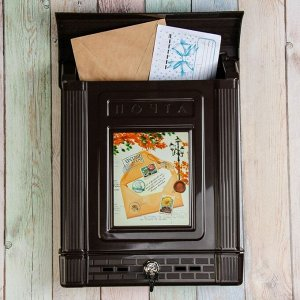 Ящик почтовый, пластиковый, «Декор», с замком, коричневый