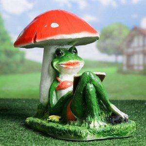 """Садовая фигура """"Лягушка под грибом с книжкой"""" 25*45*35 см"""