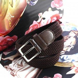 Женский текстильный плетеный ремень-резинка Charlotta шоколадного цвета, длина 105 см.