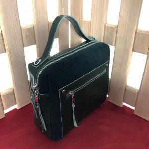 Универсальная сумочка Pretty через плечо из натуральной кожи и натуральной замши цвета зеленый опал.