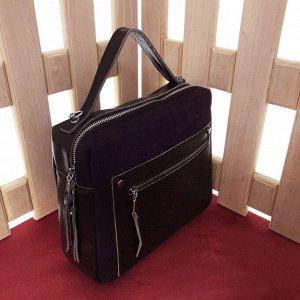 Универсальная сумочка Pretty через плечо из натуральной кожи и натуральной замши шоколадного цвета.