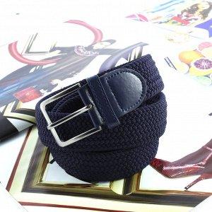 Текстильный плетеный ремень-резинка унисекс Relevant сумеречно-синего цвета, длина 105 см.
