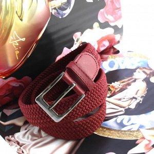 Женский текстильный плетеный ремень-резинка Charlotta гранатового цвета, длина 100 см.
