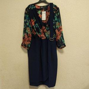 Платье с поясом Цветы